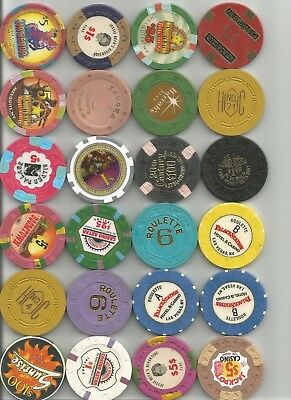 (24) 20th century,jackpot,hacienda,sahara obsolete, casino chips las vegas lot