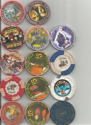 (14)  excalibur oscar de la hoya obsolete las vegas nevada casino chip  lot
