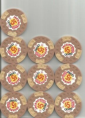 (10) $5 jackpot hotel obsolete casino chips las vegas nv lot
