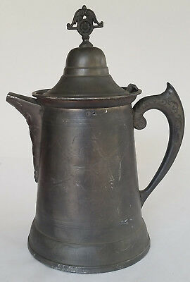 """Ornate Tin Metal Coffee Pot Pitcher Finial Hinged Lid 12""""  Vintage Antique"""