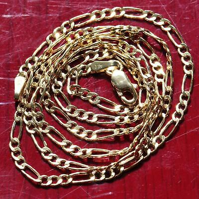 "10k yellow gold necklace 18.0"" Figaro link chain vintage 1.5gr"