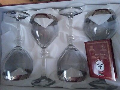 Vintage Chistalleria  Fratelli  Fumo Hand Decorated Drinkware Set Of 4  Italy 8""