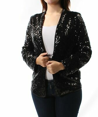 KENSIE $139 Womens New 1636 Black Sequined Party Jacket S B+B