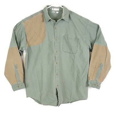 05c4a3990b4 Columbia Mens sz M Green Shooting Hunting Shirt Brown Patch Sleeve Shoulder