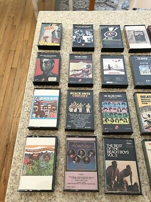 Lot of 38 Classic Rock Cassette Tapes Rolling Stones,Beatles,Beach Boys,60's 70'