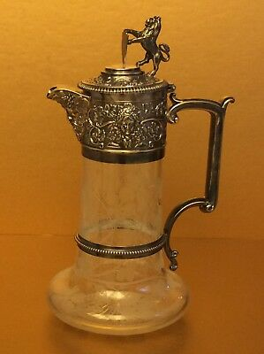 Rare Antique Elkington England Silverplate/Glass Repousse Pitcher,c.1853,marked