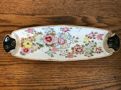 Antique Signed Japanese Hand Painted Porcelain Celery Dish Gold Flowers