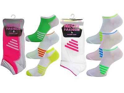 6 Girls Ladies Kids Neon Fashion Trainer Liner Socks / Stripes / UK 4-6