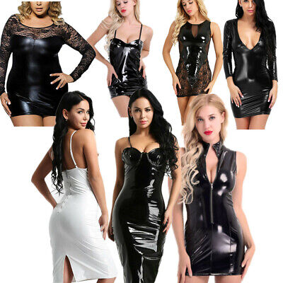 Womens Ladies Sexy Faux Leather Evening Party Club V Neck Bodycon Cocktail Dress