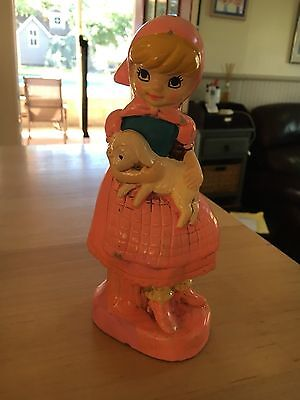 Vintage Retro,Mid-Century Girl with Lamb  Chalkware Piggy Coin Bank