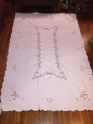 "White Vintage Madeira Embroidered Cutwork Lace Linen Tablecloth 102"" X 68"""
