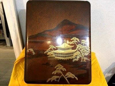 Antique Edo Japanese lacquer wood box Document hanging scroll box Tansu samurai