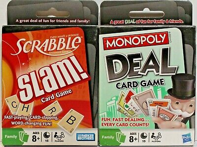 Scrabble Slam and Monopoly Deal Card Games  NEW   Great for Travel or Camping!