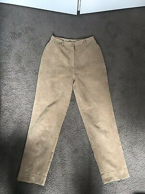 Vintage Pants Faux Suede Straight Leg Size 10 High Waisted Festival Brown Retro