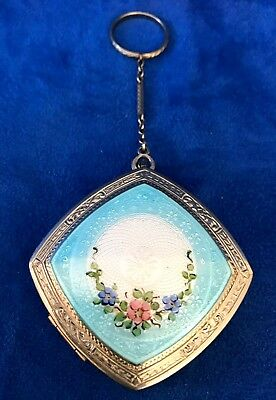 Antique Victorian GUILLOCHE Compact Box on silver  with Chain & Ring