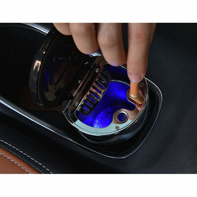 Auto Car Ashtray Travel Cigarette Ash Holder Cup LED Light Indicator W/ Compass