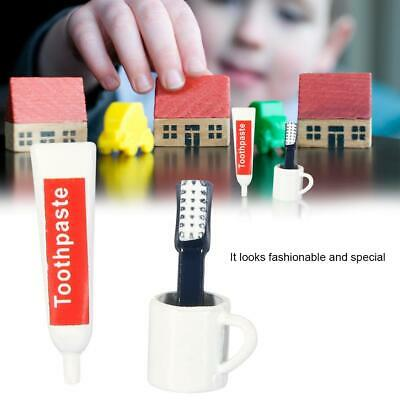 Miniature Toothbrush Set 3pcs for 1:12 Scale Dollhouse Bathroom Accessories