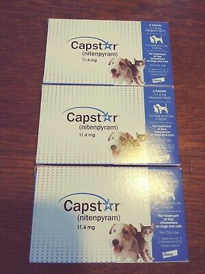 3 Boxes Capstar nitenpyram 11.4 mg ( Total of 18 Tabs) For Dogs & Cats 2-25 lbs
