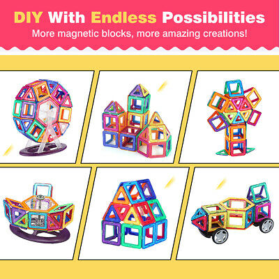US 104Pcs 3D Magnetic Building Tiles Set Blocks Educational Toy Kit For Kid Gift