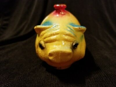 Antique / Vintage Small Glass Pig Piggy Painted In Yellow Blue and Red  R