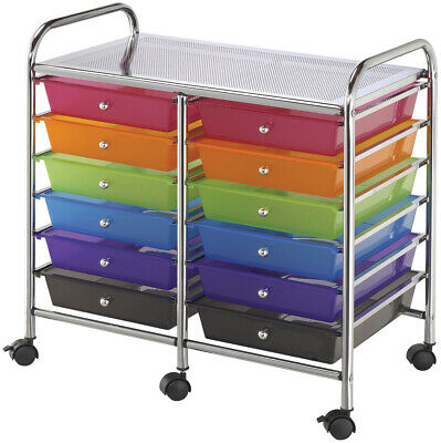 "Double Storage Cart W/12 Drawers-25.5""X26""X15.5"" Multicolor"