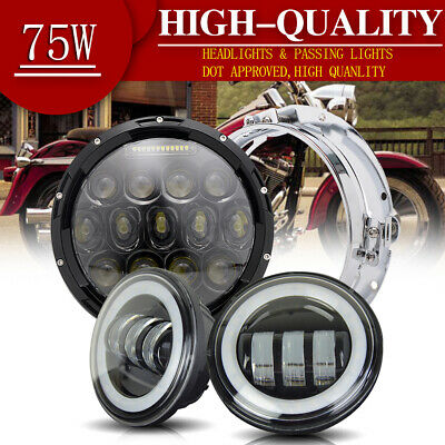 "3PACK 7"" 75W Round LED Projector Headlight +4.5"" Passing Lights Combo For Harley"