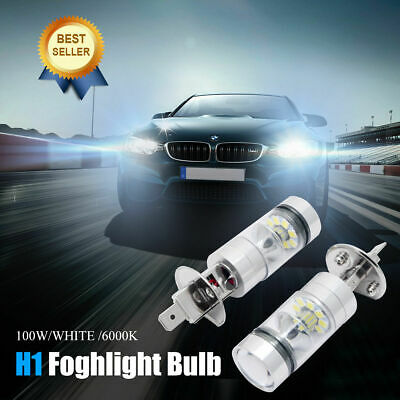2x H1 100W LED 20 SMD Blanc Lampe Phare Voiture Lumière DRL Ampoule 6000K