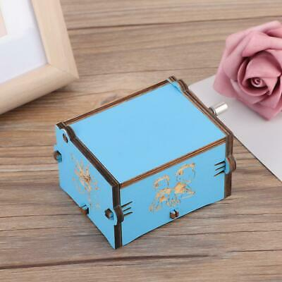 Mini Hand Crank Carved Plywood Music Box Wooden Engraved Musical Kids Toys Gifts
