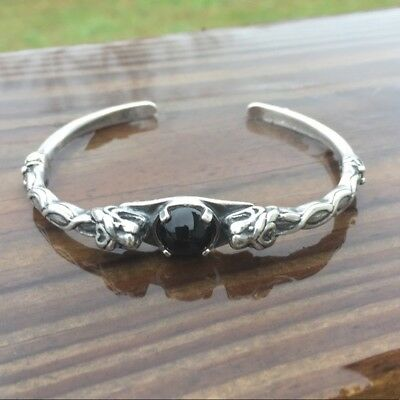 Celtic Lion Bracelet .925 Sterling Silver Goddess Cuff w/ Natural Black Onyx