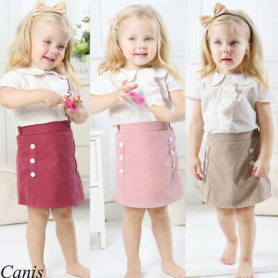 2Pcs Kid Baby Ruffle T-shirt Tops Mini Skirts Outfit Sunsuit Princess Dress 1-6Y