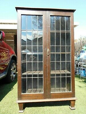 Antique Art Deco Leadlight Display Cabinet Bookshelf With Key