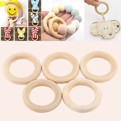 20Pcs Natural Wooden Baby Teether Ring Unfinished Wood Jewellery Craft UK Stock
