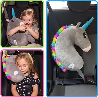 Seat Belt Car Travel Pillow and Plush Animal Toy Head & Neck Support