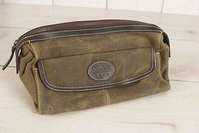 Bayfield Mens Waxed Canvas Leather Toiletry Dopp Shaving Bag Aged Vintage Look