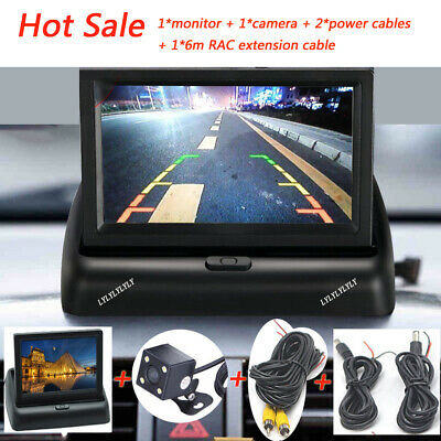 """12V Car Rear View Kit Reversing Camera RCA Extension Cable+4.3"""" LCD Monitor AU"""