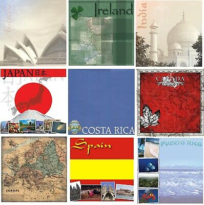 "Countries of the World Scrapbook Papers, 12x12"", Choose from over 50 Papers"