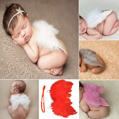 Newborn Baby Angel Wings+Headband Flower Costume Photo Photography Prop Outfit