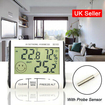 LCD Digital Indoor Outdoor Thermometer Hygrometer Humidity Meter Probe Sensor UK