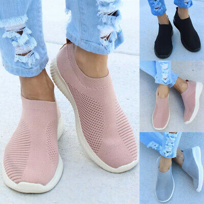 Womens Ladies Slip On Flat Trainers Sneakers Mesh Comfort Pumps Shoes Size 3-6.5