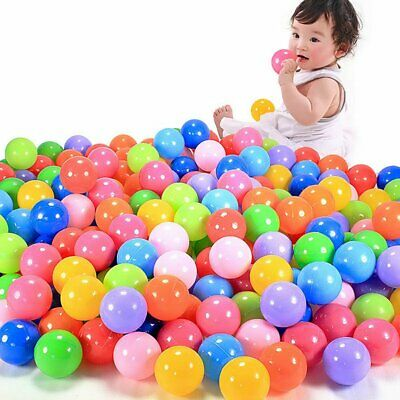 100x Plastic Balls for Children For Ball Pits Kids Multi Coloured Toys Play Pool