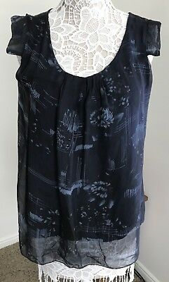 a6aaac1a607 CARLA CONTI ITALY BLUE LINEN   GAUZE SLEEVELESS DRESS Size M-made In ...