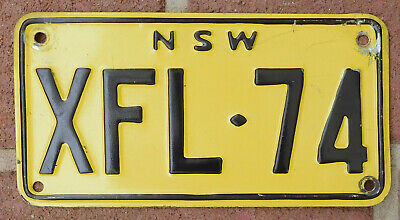License Plate Number Plate NSW steel non-reflective motorcycle  XFL-74