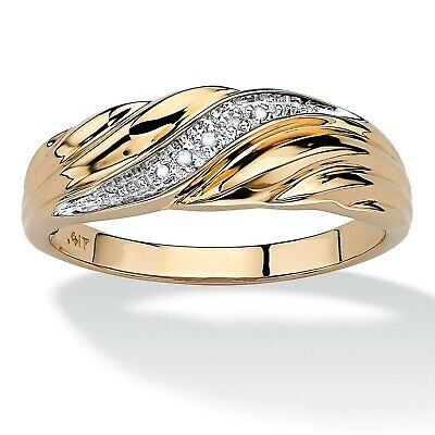 Stunning 18K Gold Filled Cubic zirconia Men's Wedding Bands Promise  Rings