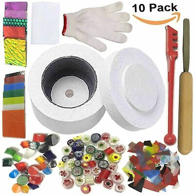UK STOCK 10Pcs Stained Glass Fusing Supplies Microwave Kiln Kit Tool DIY 2019