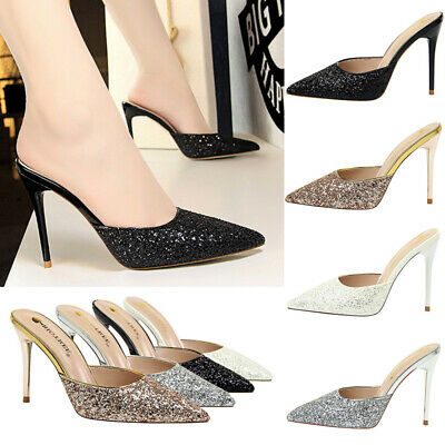 Ladies Party Sparkly Sequin Mules Women Sexy Pointy Toe Slip On High Heels Shoes