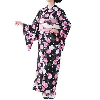 Traditional Japanese Womens Kimono Fine Pattern Black x Rose 2A M Japan Tracking
