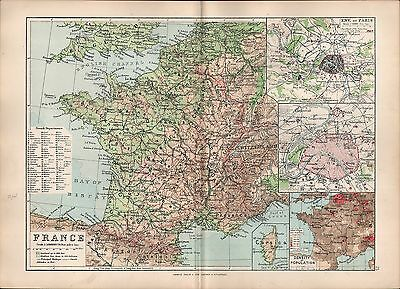 1895 Victorian Map ~ France French Departments Paris Environs Population Density