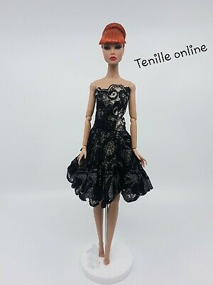 New Barbie doll clothes fashion outfit dress party cocktail lace black silver