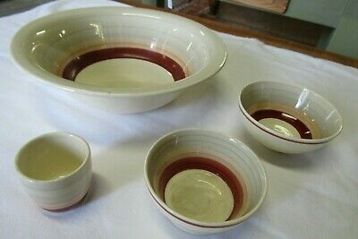 Susie Cooper Wedding Band Pattern, 4 Pieces, Bowls & Egg Cup, Ideal Replacements