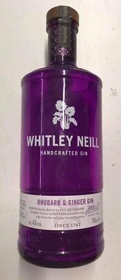 Empty Whitley Neill Rhubarb & Ginger Gin Glass Bottle - Upcycle Craft / Display